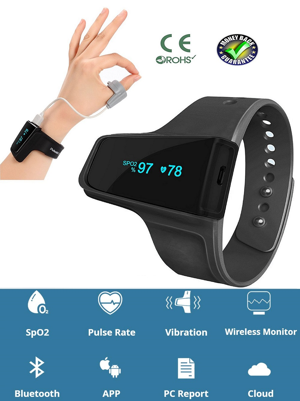 Free Shipping Check Me Sleep Monitor Anti Snoring Sleep Aid Watch Monitor  Heart Rate SpO2 Pulse Oximeter